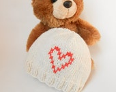 Heart Baby Hat Newborn Valentine Hat Cross Stitch Heart Beanie Knit Cap Pink Red Ivory Cream Organic Baby Ecofriendly Natural Baby Gift