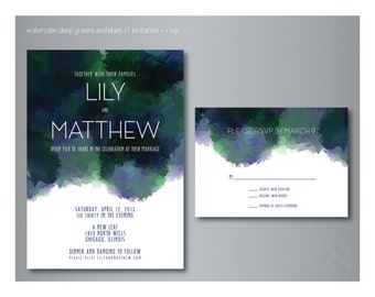 Watercolor Inspired Wedding Invitation (Digital File)