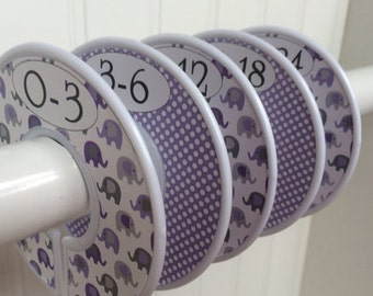 5 Baby Closet Dividers Closet Organizers Clothes Organizers Clothes Dividers Purple Gray Elephants Baby Shower Gift Girls