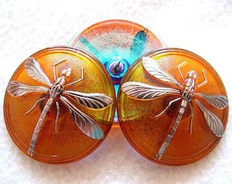 Czech   Glass  Buttons  2pcs   Gorgeous   40.5mm   Platinum   DRAGONFLY     IVA 104