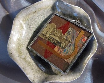 Penzance Pendant - collage - soldered glass - warm tones