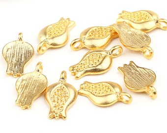 Matte Gold Pomegranate Charms, 10 pieces // GPCh-091