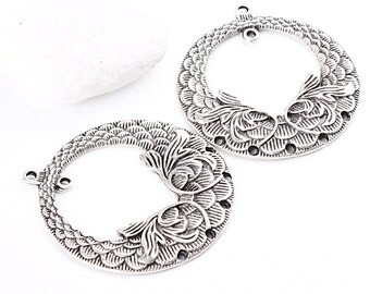 Floral Silver Plated Connectors, 2 pieces // SPC-139