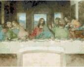 Leonardo Da Vinci The Last Supper Painting Counted Cross Stitch Pattern Chart PDF Download by Stitching Addiction
