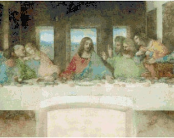 Leonardo Da Vinci The Last Supper Painting Counted Cross Stitch Pattern Chart PDF Download by Stitching Addiction