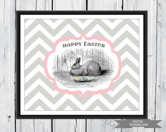 Easter Print - Easter Bunny  Digital Print Pdf Custom Colors Fast and Easy Easter Decor 8x10