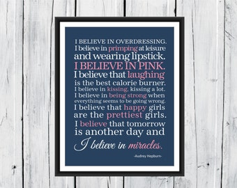 I Believe in Pink - Audrey Hepburn Quotes - Word Art Decor