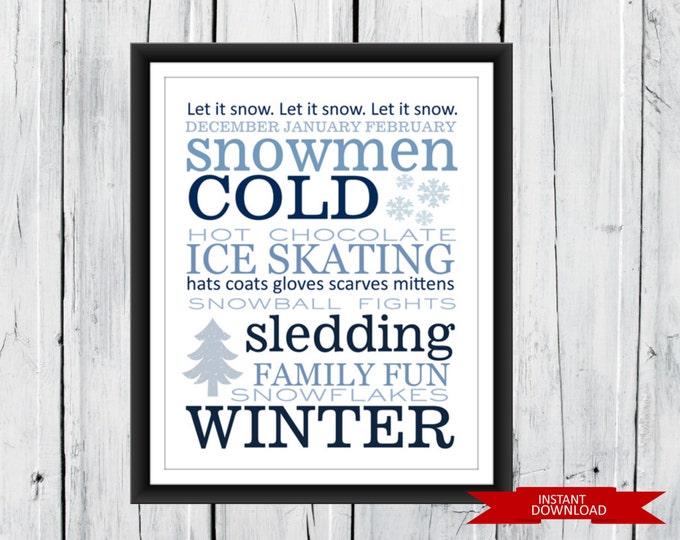 Winter Word Art Print - SEASONAL PRINT - Wall Decor - Instant Download 8x10