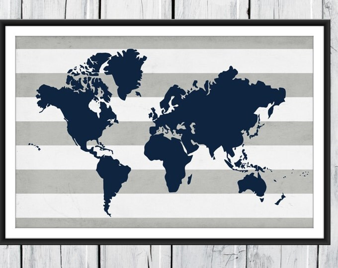 World Map Print - Nursery Wall Decor - Distressed Striped Background -  Custom Colors