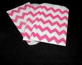 25 Mini Hot Pink Chevron 3x5 inch Flat Paper Bags Pink,Cute 3.25x5.25 Kraft Goodie Favor Bags, Itty Bitty Bag