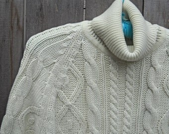 SWEATER SALE--Vintage Sweater, Fisherman Knit Cable Sweater, International Collection by McGregor, Cream Color, Beautiful