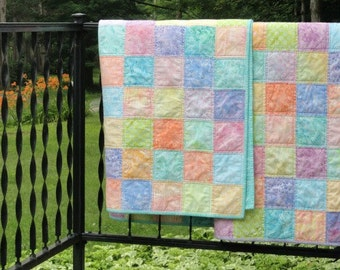 Pastels with AQUA Baby Quilt, Toddler Quilt, Throw Quilt