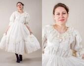 Ivory white Silky Rococo Marie Antoinette Dress / White  lace crinoline dress / Rococo Lolita dress / size small to medium