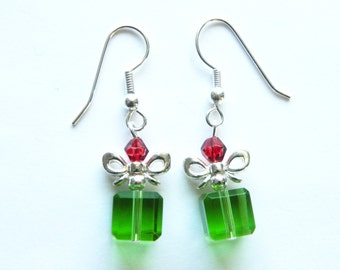 Holiday Gift Earrings - Christmas gift, holiday parcel, red and green sparkle earrings