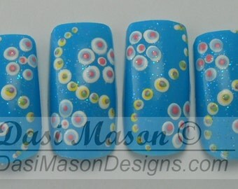 Dotted Spring Flowers Instant Acrylic Nail Set