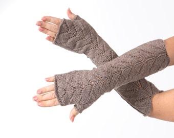 Long lace Fingerless Dark beige Fingerless mittens Arm Warmer Gloves Long Fingerless Extra Long fingerless Lace gloves