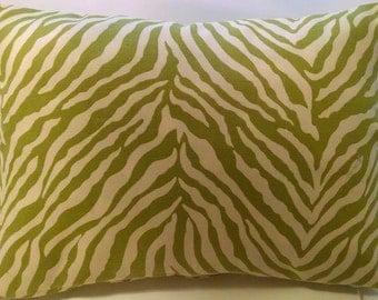 12 x 16 Lime Green Pillow Cover-Zebra Print fabric-Decorative Pillow Cover, Accent Pillow, Throw Pillow, Toss Pillow