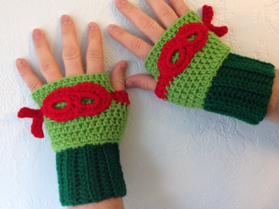 Crochet Pattern For Ninja Turtle Blanket : Crochet Item Ninja Turtle Inspired Crochet Gloves