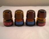 Set of 4 Vintage Amber Glass Dentist's Reagent Bottles