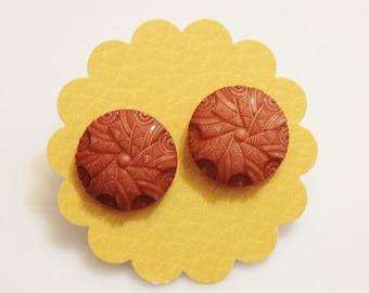 Orange-Brown Stud Earrings
