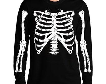 Rib Cage Skeleton Long Sleeve T-Shirt Horror Punk Rock Goth Emo Halloween Geekery Costume Party Tee Shirt Tshirt Adult Sizes S-2XL