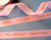 "Happy Birthday Satin Ribbon Trim, Pink / Silver, 7/8"" inch wide, 1 yard, For Scrapbook, Decor, Accessories, Mixed Media"