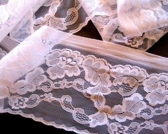 Victorian Foldover Wide Lace, White, 4 1/2 inch wide, 1 Yard For Bridal, Home Decor, Apparel, Accessories, Victorian & Romantic Crafts