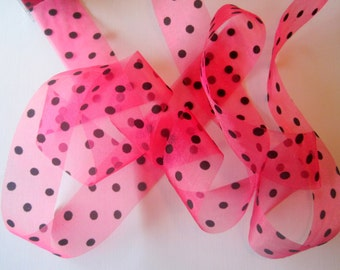 Sheer Velvet Dots Ribbon, 1 1/2 inch wide, Fuchsia / Black ,1 yard, For Decor, Accessories, Party Favors, Gift Baskets, Wedding Stationary.