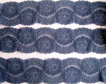 Stretch Scalloped Victorian Lace, Blue-Gray, 2 3/4inch wide, 1 Yard For Apparel, Home Decor, Accessories, Mixed Media, Scrapbbok