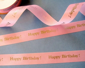 """Happy Birthday Satin Ribbon Trim, Pink / Silver, 7/8"""" inch wide, 1 yard, For Scrapbook, Decor, Accessories, Mixed Media"""
