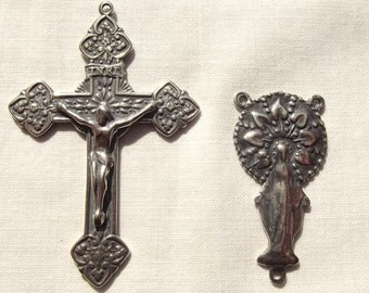 Sterling Rosary Set with Ave Maria Center & Crucifix with Ferns