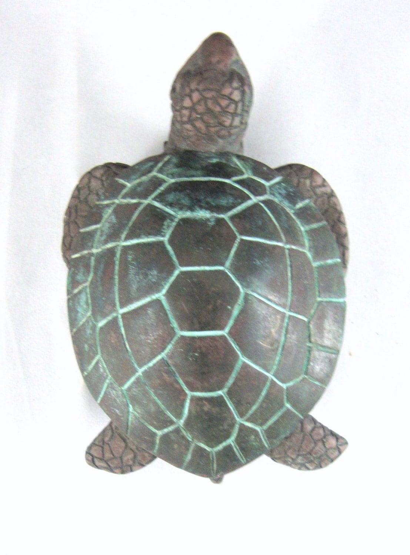 Spi sea turtle brass door knocker coastal beach decor - Turtle door knocker ...