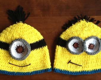 Crocheted Minion Hat - Size Newborn to Adult