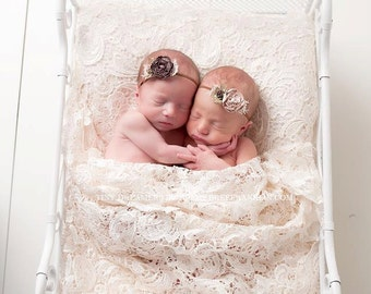 twin girl headbands..twin girl headbands..brown headbands..tan headband..baby girls headbands..girls headband..newborn headbands
