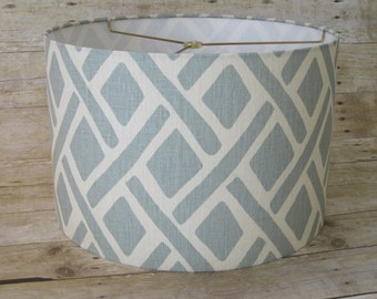 Drum Lamp Shade Lampshade in Treads Laguna Blue by Kravet - READY TO SHIP