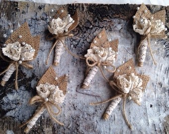 Burlap Rustic / Cottage Chic Boutonnieres. Set of Six. Cotton Lace Flowers, Glass Pearl Beads / Ready to ship
