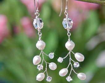 10% Off Wedding Bridal Branch Earrings With Freshwater Pearls And Swarovski Crystals Sterling Silver Wire Wrapped Nature Jewelry For Brides