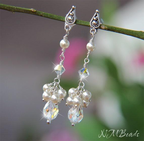 Bridal Swarovski Crystal and Ivory/white Pearl Cluster Earrings, Sterling Silver, Wedding Jewelry, Long Drop Earrings, Bridal Earrings