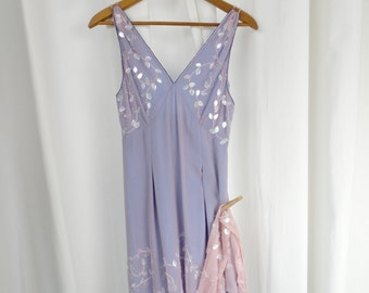 Vintage 90s Neiman Marcus Anopia Collezioni pink & azure blue 2 layer slip dress/embroidery sequins beading: size 4
