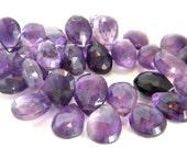 Shaded Amethyst Pear Briolette. Purple Faceted Pear Briolette Bead. Semi Precious Gemstone Briolette. 7-10mm. 6 Bead Strand