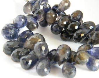 Iolite Water Sapphire Teardrop Faceted Briolette. Blue Purple Faceted Briolette Bead. Semi Precious Gemstone  8-9 mm. 6 Bead Strand