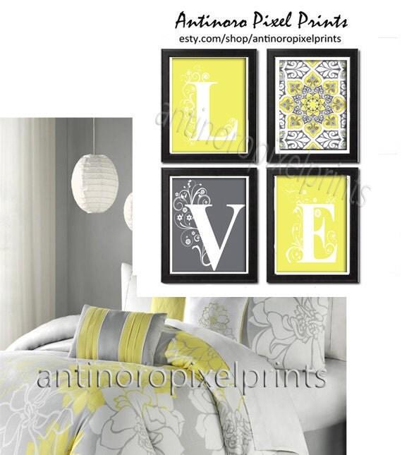 Home Decor Digital Love Lemon Yellow Greys White Wall Art