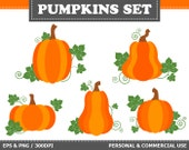 BUY 2 GET 1 FREE! 5 Digital Pumpkins Clip Art Autumn, Halloween, Holidays, Fall Clip Art. Commercial and Personal use,
