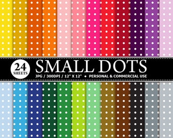 BUY 1 GET 1 FREE - 24 Small Dots Digital Scrapbook Paper, digital paper patterns for card making, invitations, scrapbooking