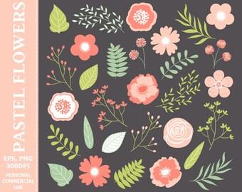 Floral Clip Art - Vector Floral Clipart, Flowers Clipart, Florals Clipart, Wedding Floral Clipart, Flower Clipart, Floral Clip Art