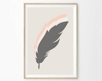 Pastel Southwestern Home Decor | Feather Wall Art | Bohemian Minimalist Home Decor Wall Poster Print | Boho Chic Boutique Decor | Pink Wall