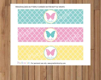 DIY Printable Personalized Butterfly Garden Water Bottle Labels or Wraps by Pixels n Ink ~