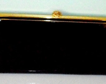 Mid Century Patent Leather Clutch, Bienen Davis Black Purse, Designer Handbag, evening purse, black purse, vintage accessory, formal handbag