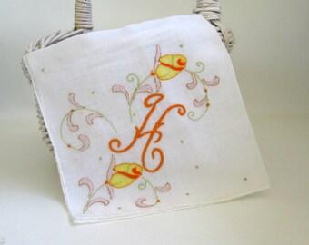Vintage Ladies Hankie Monogrammed Wedding Embroidered Handkerchief Madeira