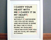 I Carry Your Heart Printable Wall Art, Love Quote, Cream, EE Cummings, Downloadable pdf